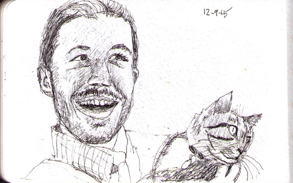 Sketch of a laughing man and his cat in ballpoint pen
