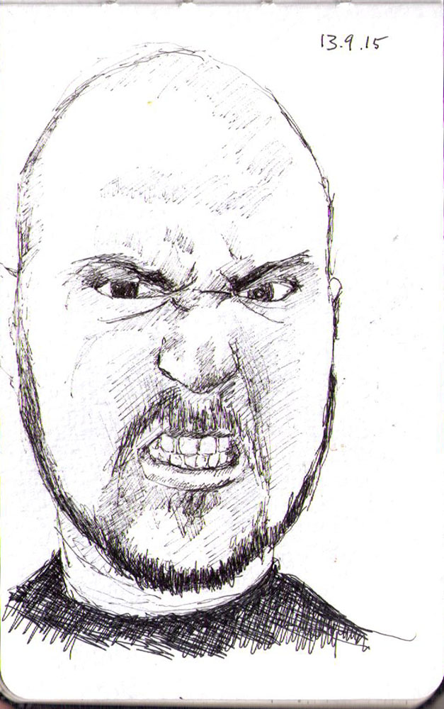 Portrait of a guy making a grimace in ballpoint pen