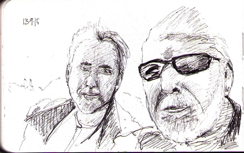 double portrait of a father and son in scottish mountains in ballpoint pen