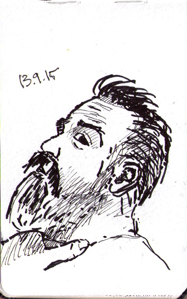 Sketch of a bearded man being choked in ink marker