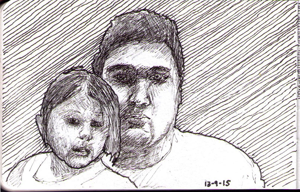 Drawing of a brother and sister in ballpoint pen