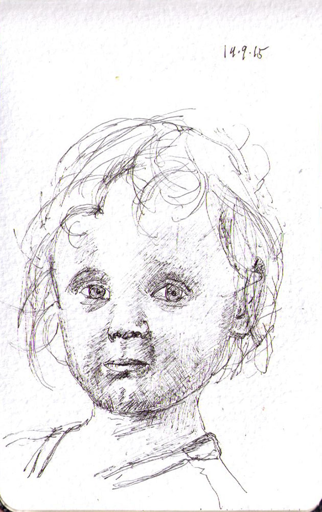 Sketch of a little boy in ballpoint pen