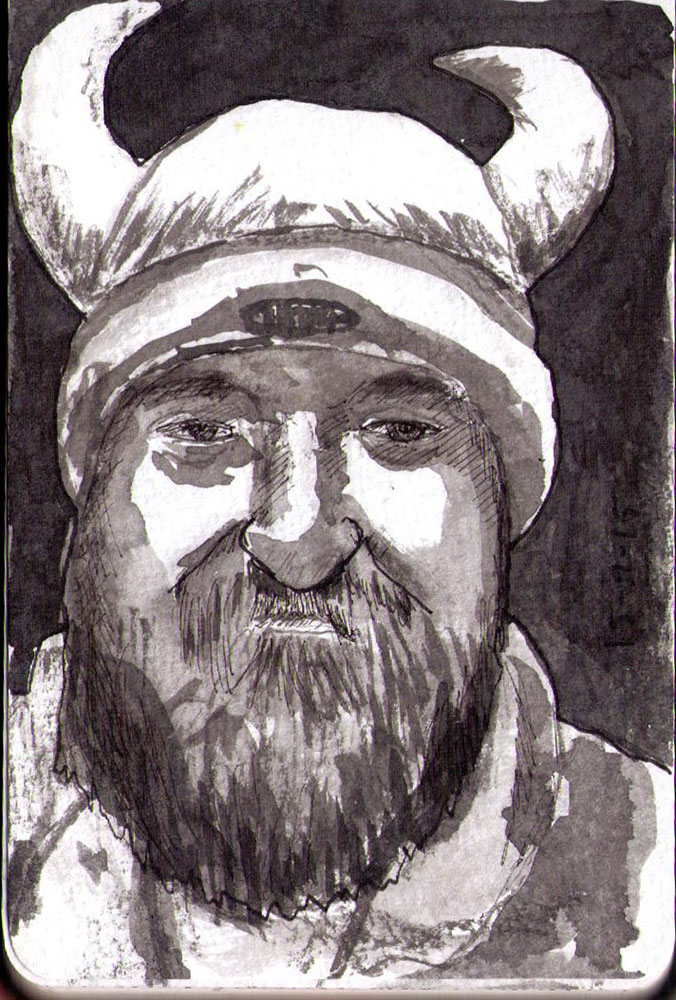 Drawing of a bearded guy wearing a viking hat in ballpoint pen and india ink