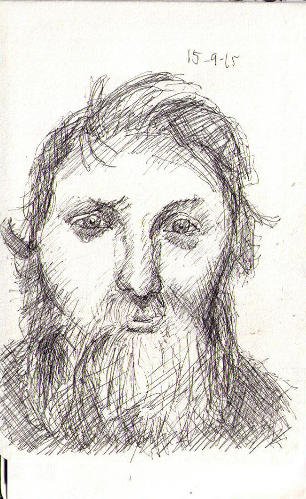 Drawing of a bearded man in ballpoint pen