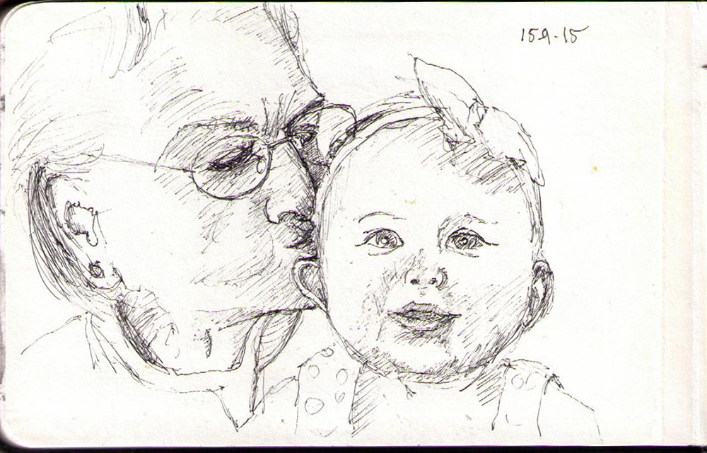 drawing of a great grandmother and grandchild in ballpoint pen