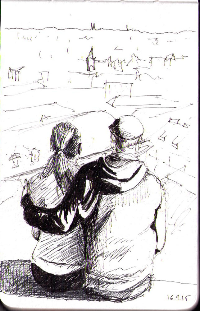 Drawing of a couple in Prague in ballpoint pen