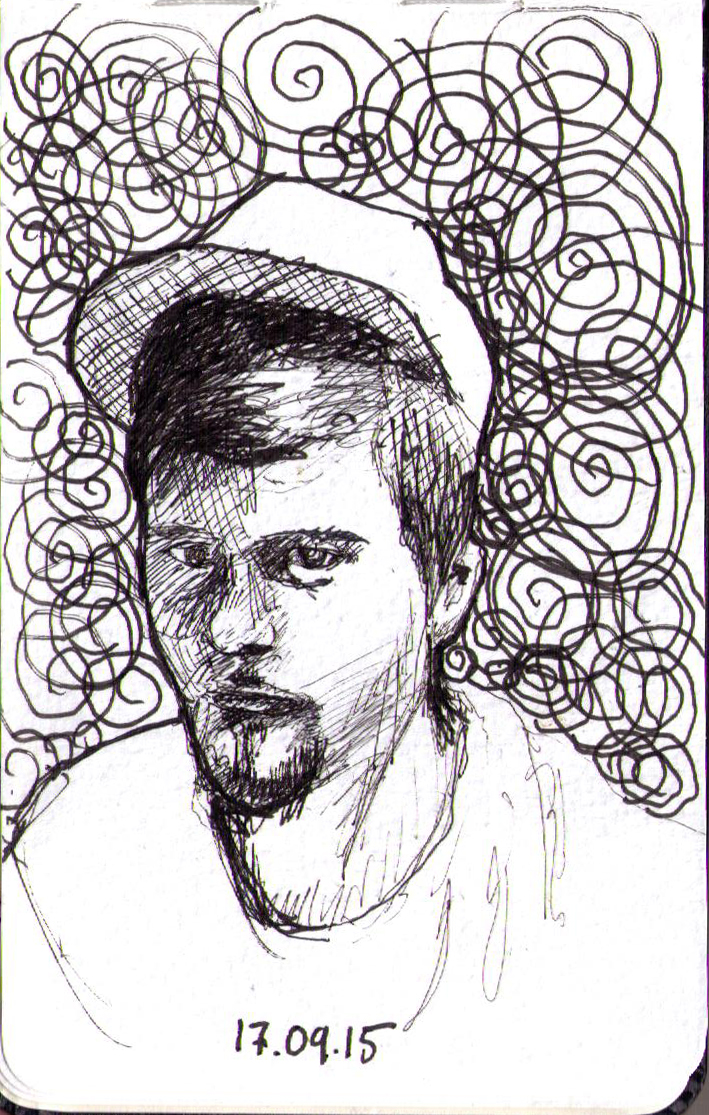 Portrait drawing of a guy wearing a hat