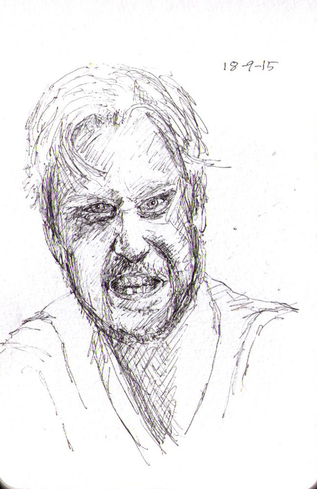 Sketch of an angry guy in ballpoint pen