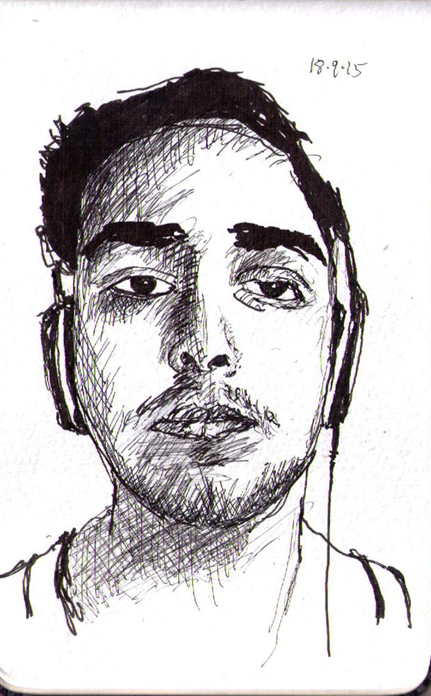 Portrait drawing of a guy listening to music in ballpoint pen