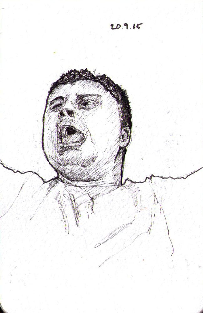 Drawing of an excited football fan