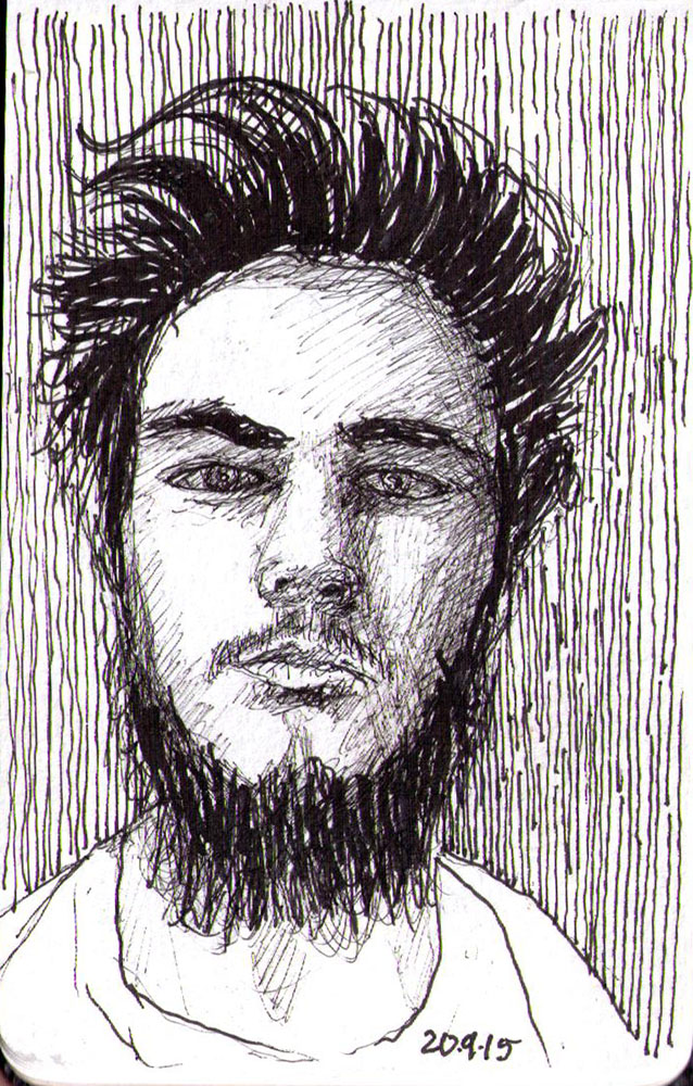Sketch of a guy with wild hair and beard