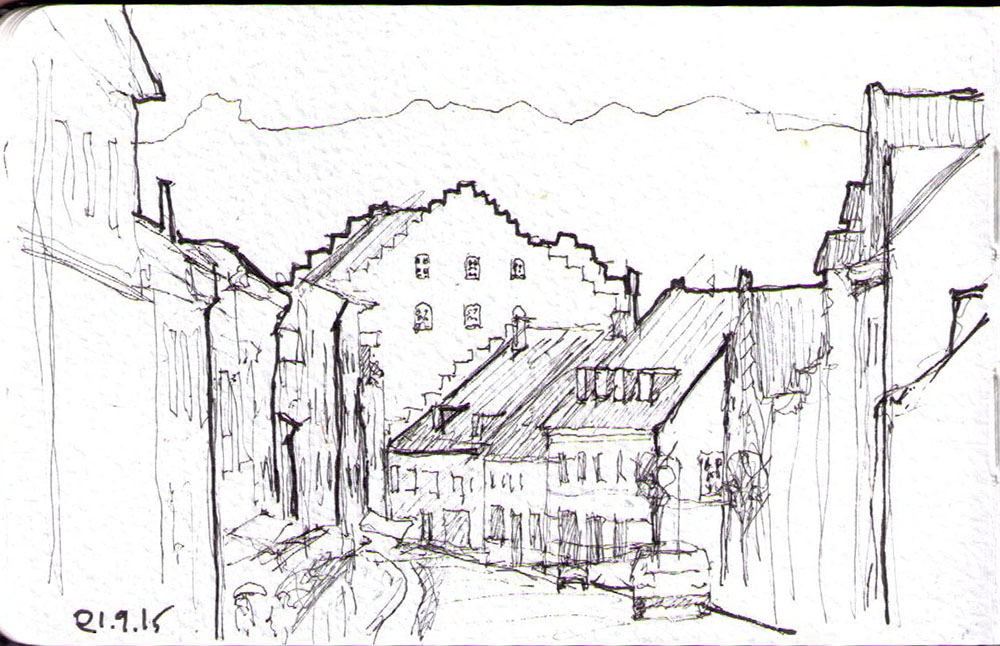 Drawing of a street in germany in ballpoint pen