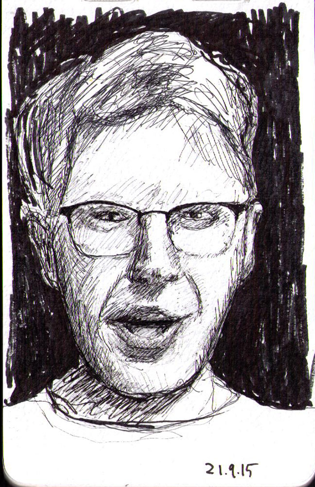 Drawing of a guy with glasses in ballpoint pen
