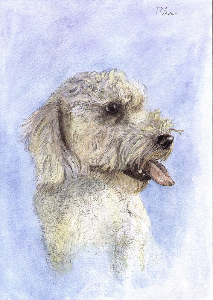 A commissioned drawing of a dog in watercolor and ballpoint pen
