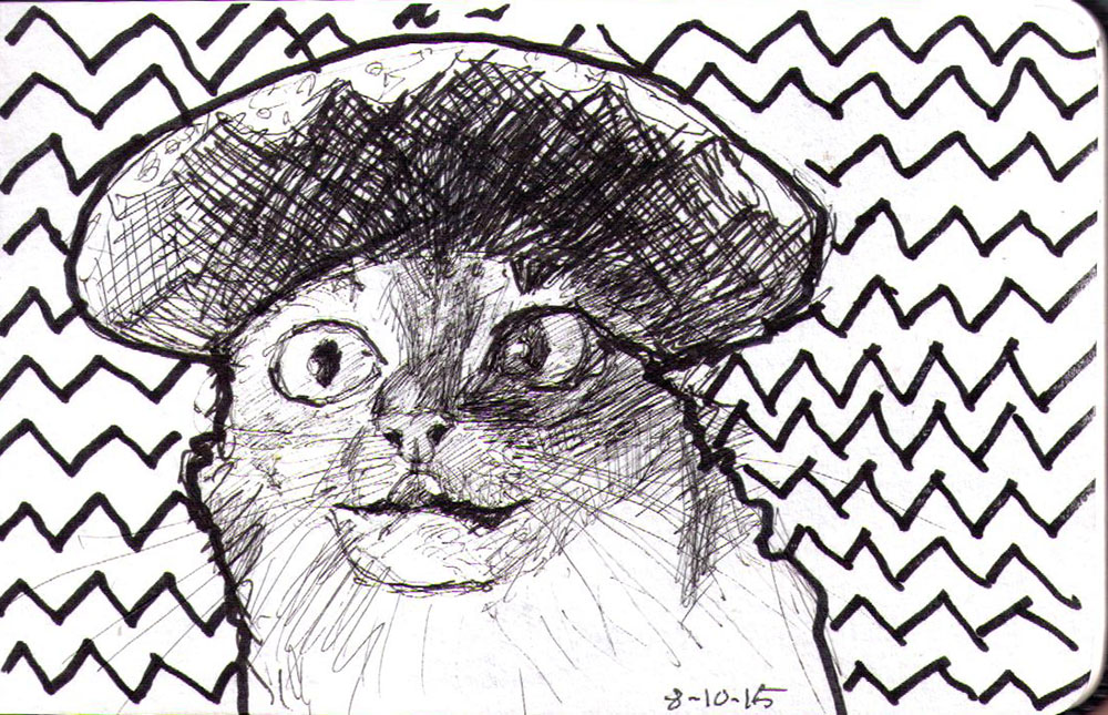 Sketch of a cat in pen