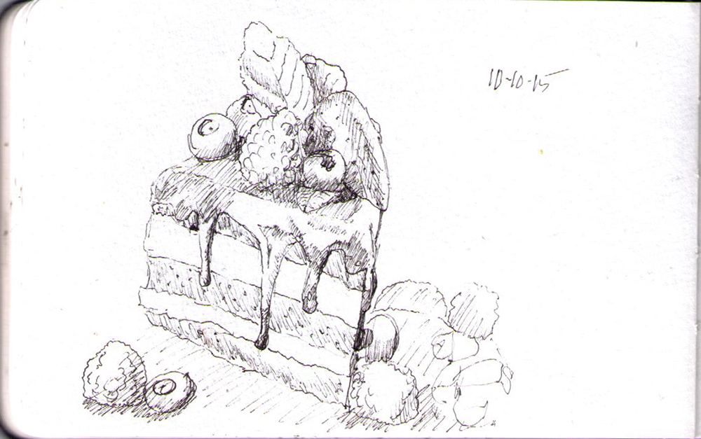 Sketch of a piece of cake