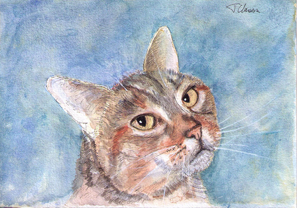 Painting of a tabby cat in watercolor and pen