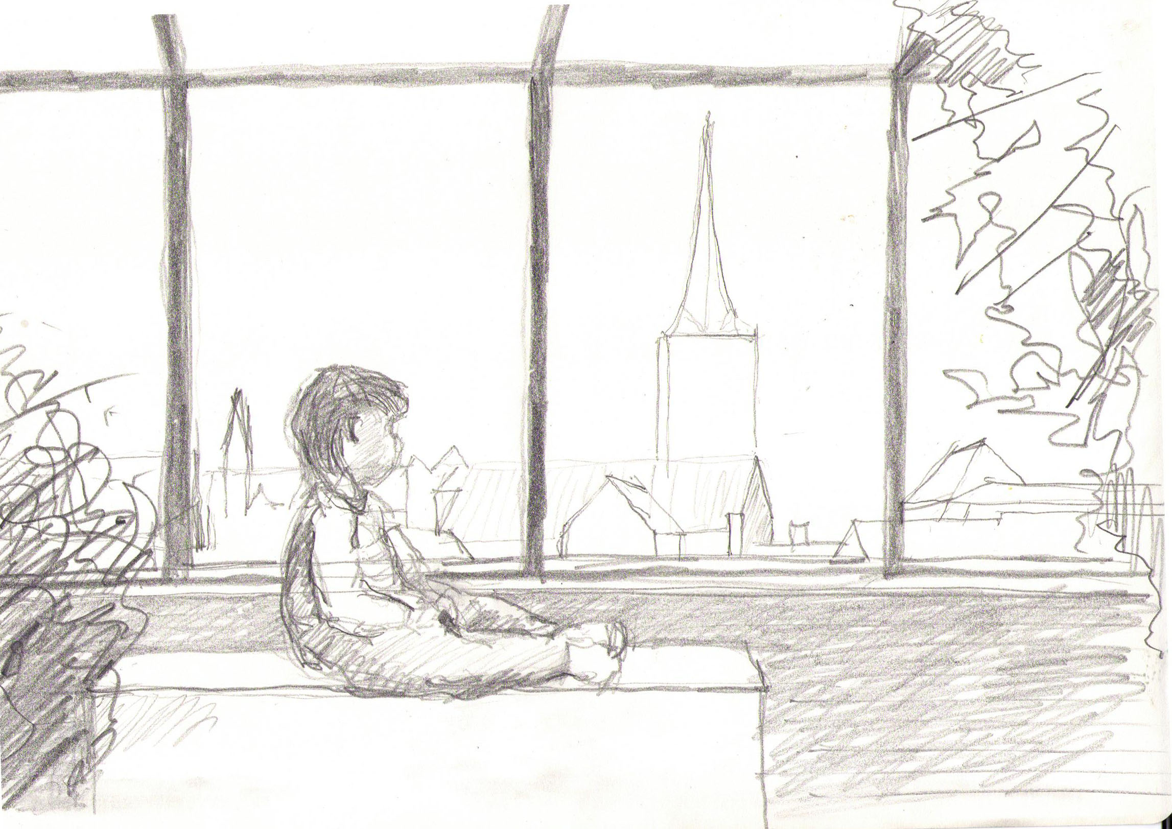 sketch of a roof garden view