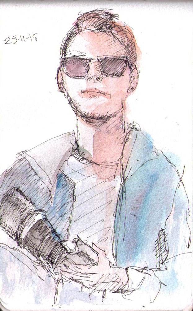 thomas-dalsgaard-clausen-2015-11-25f sketch guy and his camera in pen and watercolor