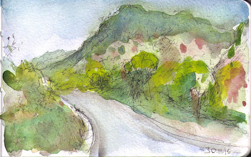 thomas-dalsgaard-clausen-2015-11-30a landscape in bhutan pen and watercolor